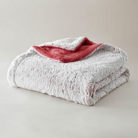 Plaid ultra-doux vague rose
