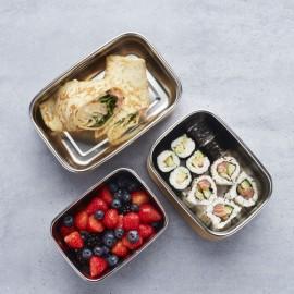 Lunchbox rectangulaire en inox et couvercle bambou