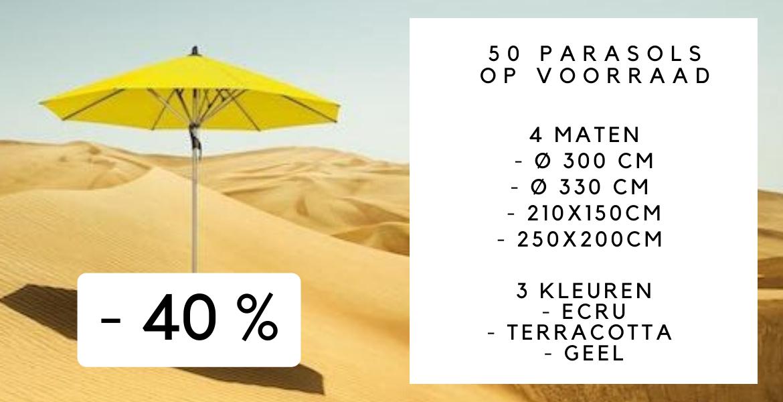Alle parasols zijn op voorraad: gratis levering in 24H in heel België.