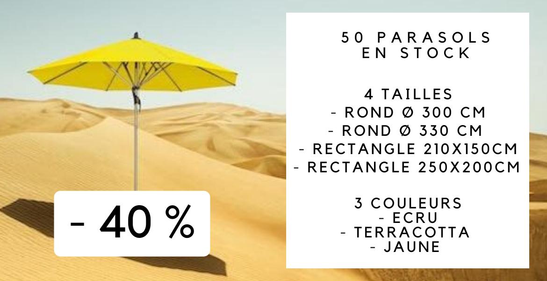 Tous les parasols sont en stock : livraison gratuite en 24H sur toute la Belgique